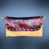 Red Tooled Feather Buckskin Belt Bag