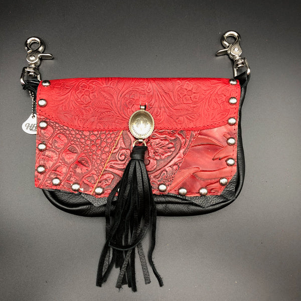 Red and Black Leather Concho Belt Bag