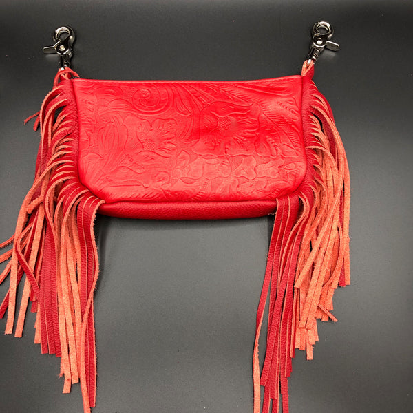 Red Tooled Leather Side Fringe Belt Bag