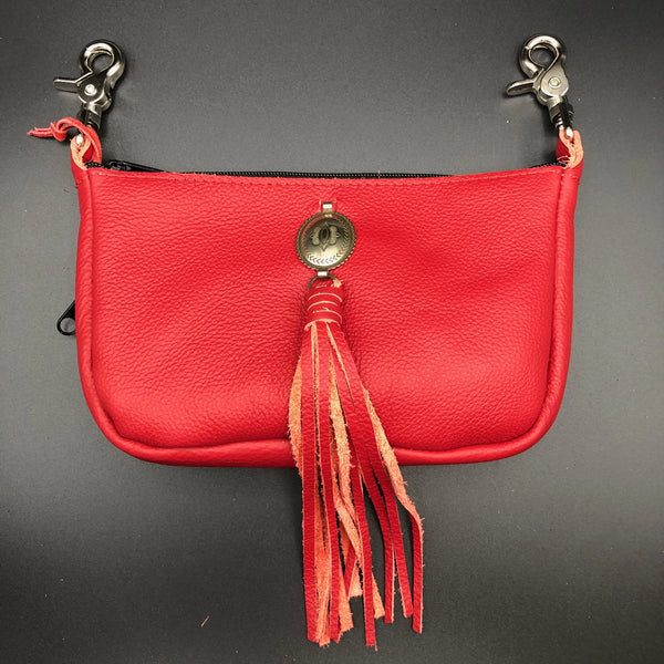 Red Leather Conceal Carry Hip Bag