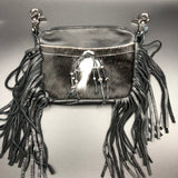 Black Hair Hide Leather Fringe Belt Bag