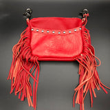 Red Tooled Side Fringe Belt Bag