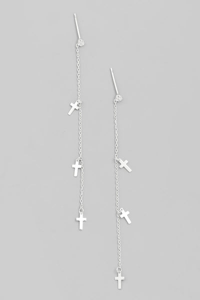 Silver Cross Chain Earrings