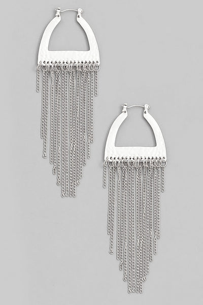 Silver Chain Fringe Earrings