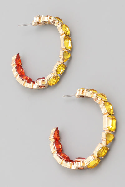 Red Gold Crystal Hoops
