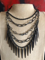 Chains and Spikes Rubber Necklace