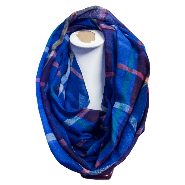 CHECK SNOOD SCARF - Blue Check, Black Check & Red Check Scarves