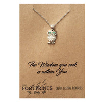 OWL WITH GREEN EYES STERLING SILVER NECKLACE