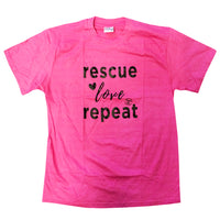 ADULT T-SHIRT - RESCUE LOVE REPEAT