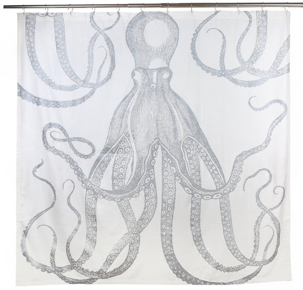 "Octopus Silver Metallic Shower Curtain 72""x72"""