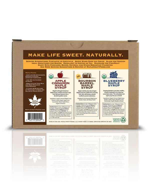 Maple Craft Syrup Gift Sampler Box  (Apple Cinnamon, Bourbon Barrel, Blueberry)