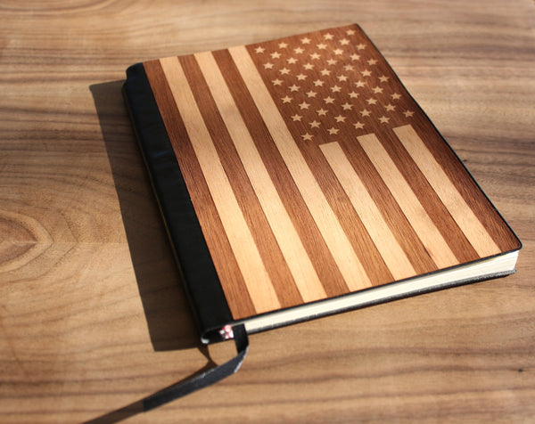Handcrafted American Flag Wood Journal / Planner-Mahogany