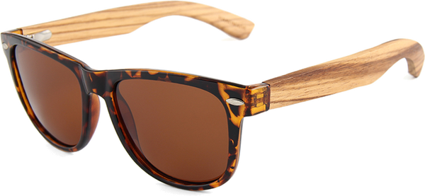 Real Zebra Wood Tortoise Frame Wanderer Sunglasses by WUDN
