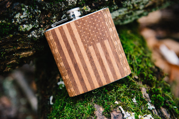 6 oz Wooden American Flag Hip Flask