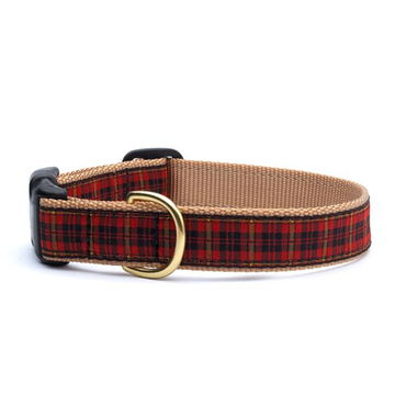 New Red Plaid Dog Collar
