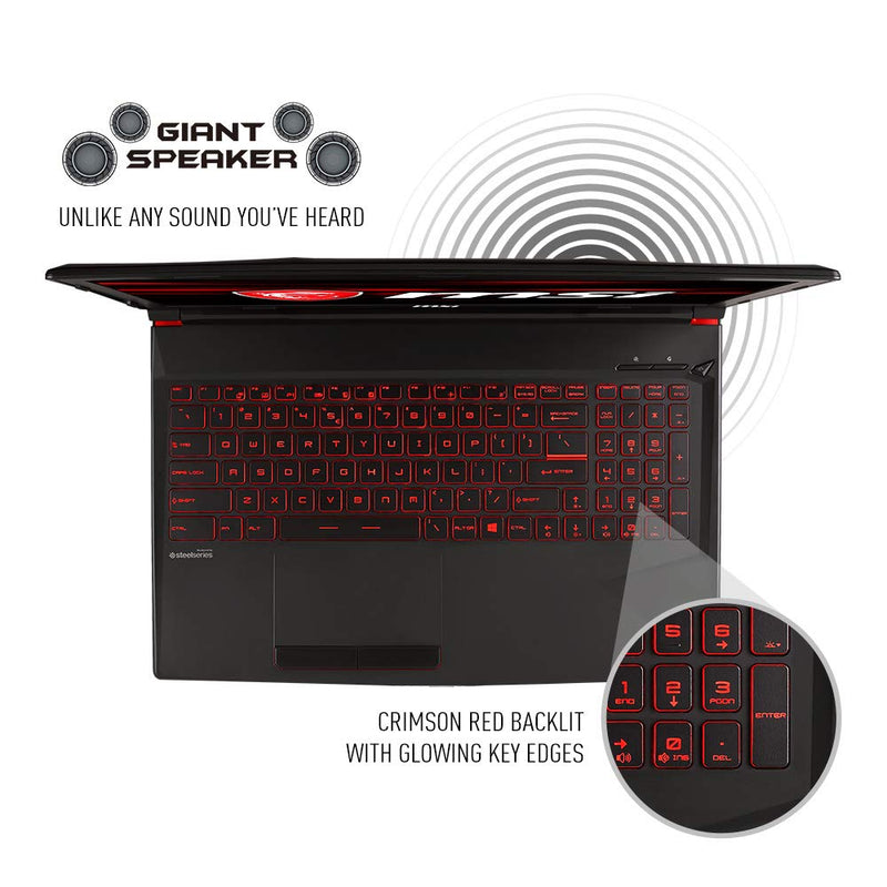 "MSI GL63 8SC-059 15.6"" Gaming Laptop, Intel Core i7-8750H, NVIDIA GeForce GTX1650, 8GB, 256GB Nvme SSD, Win10 - Dumux&EurekaYa"