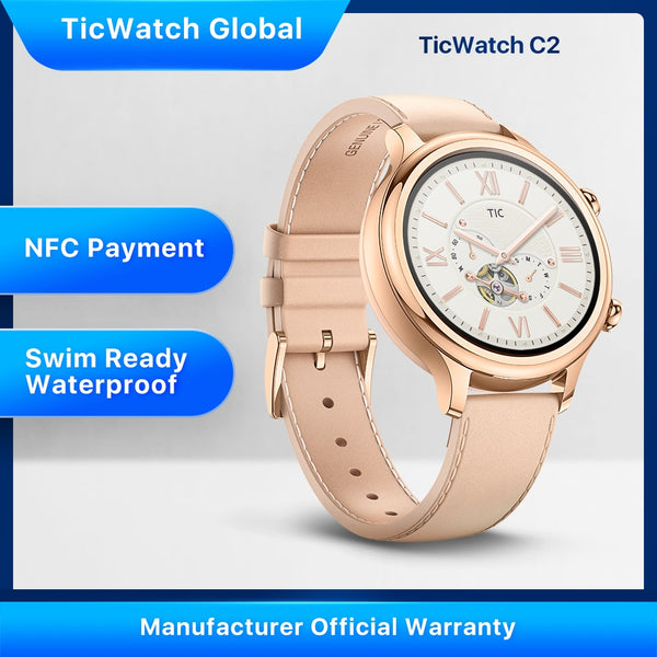 Ticwatch C2 Wear OS by Google Women Bluetooth Smart Watch Android&iOS Compatible IP68 Swim ready Waterproof GPS NFC Available - Dumux&EurekaYa