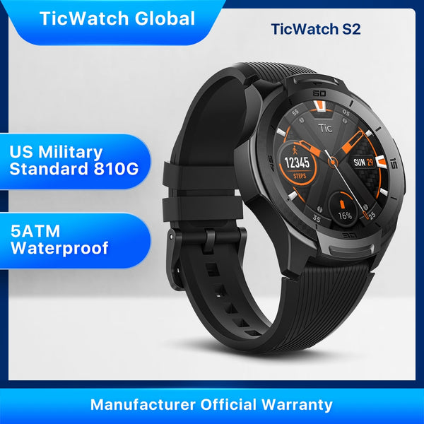 TicWatch S2 Wear OS by Google Smartwatch Bluetooth GPS Sport Watch for Men 5ATM Waterproof for IOS&Android Long Battery Life - Dumux&EurekaYa