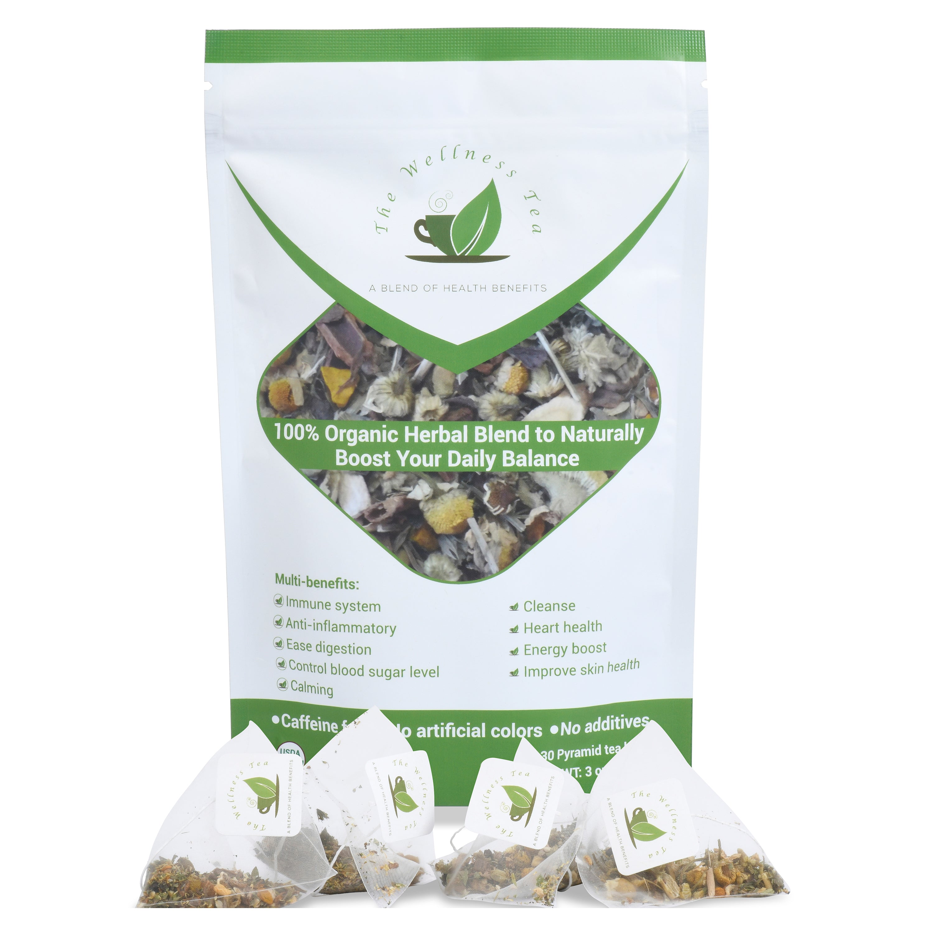 The Wellness Tea - 100% Organic Herbal Tea Blend - 30 Pyramid Tea Bags