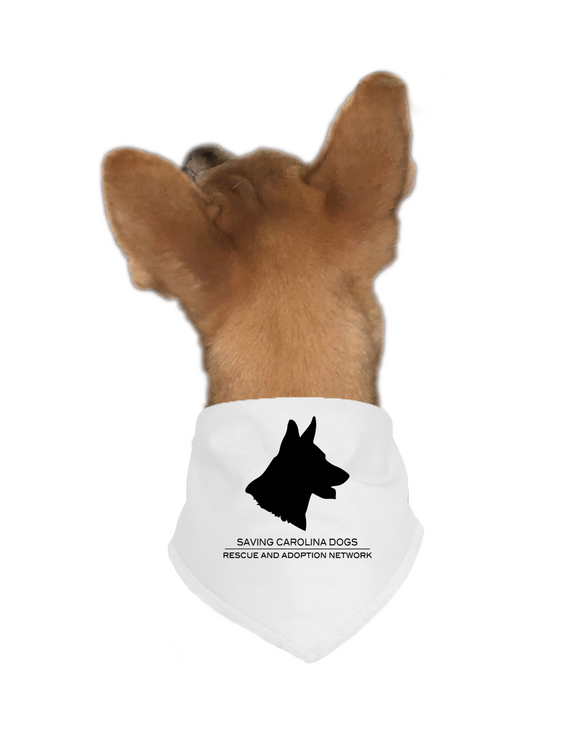 SCD Dog Bandana black on white