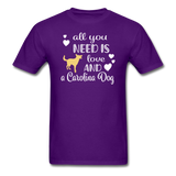 All You Need is Love and a Carolina Dog Unisex Classic T-Shirt - purple