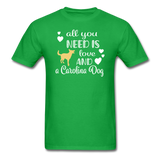 All You Need is Love and a Carolina Dog Unisex Classic T-Shirt - bright green