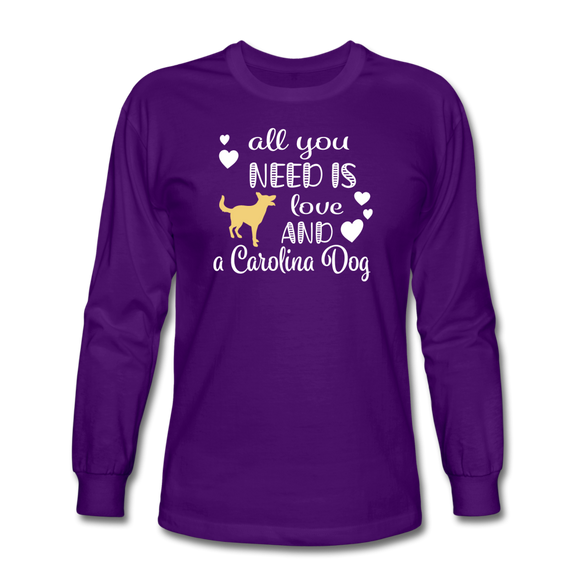 All You Need is Love and a Carolina Dog Long Sleeve T-Shirt - purple
