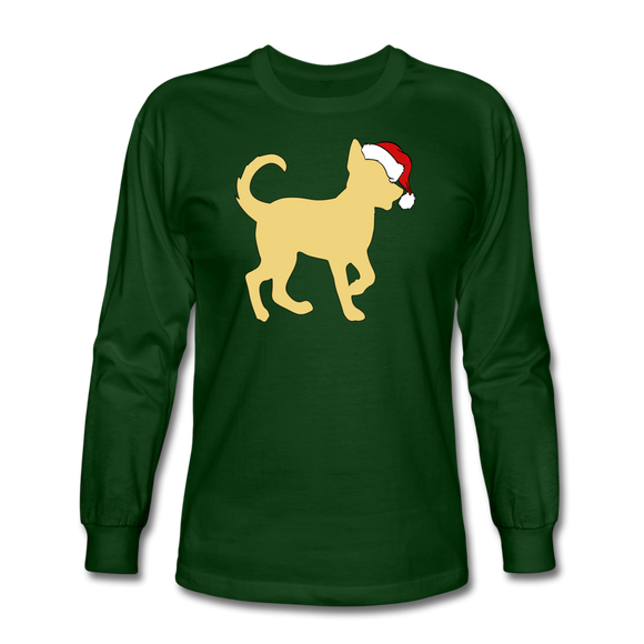 Here Comes Santa Paws Long Sleeve T-Shirt - forest green