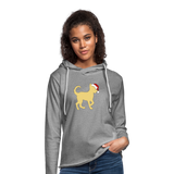 Here Comes Santa Paws Unisex Lightweight Terry Hoodie - heather gray