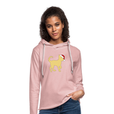 Here Comes Santa Paws Unisex Lightweight Terry Hoodie - cream heather pink