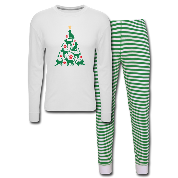 CD Christmas Tree Unisex Pajama Set - white/green stripe