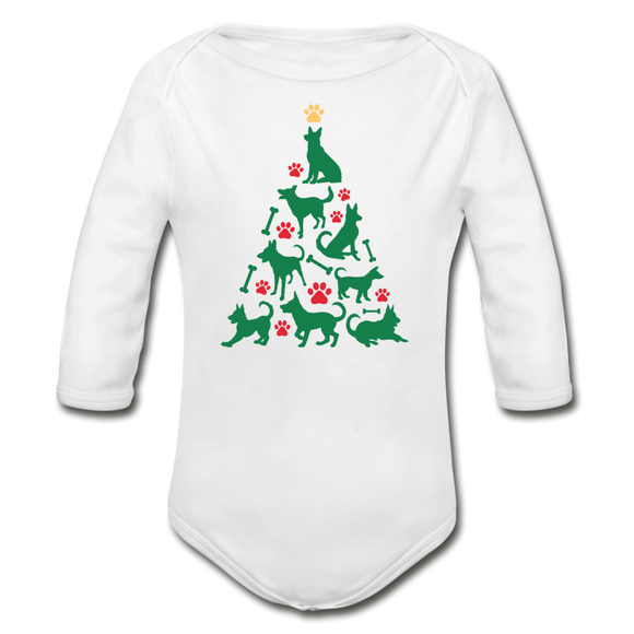 CD Christmas Tree Organic Long Sleeve Baby Bodysuit - white
