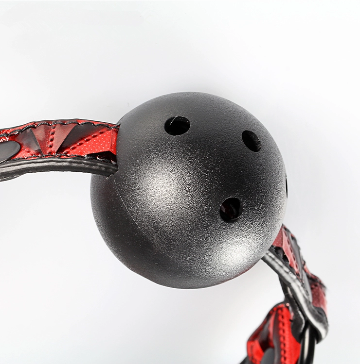 Red Faux Leather Ball Gag - [yiwa_sex toys]