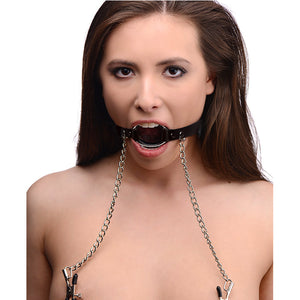 BDSM Bondage Flirting Sexy O Ring Gag with Nipple Clips Fetish - [yiwa_sex toys]