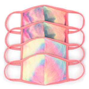 Tie-Dye Face Masks with Neon Pink Ear Loops (4-Pack)