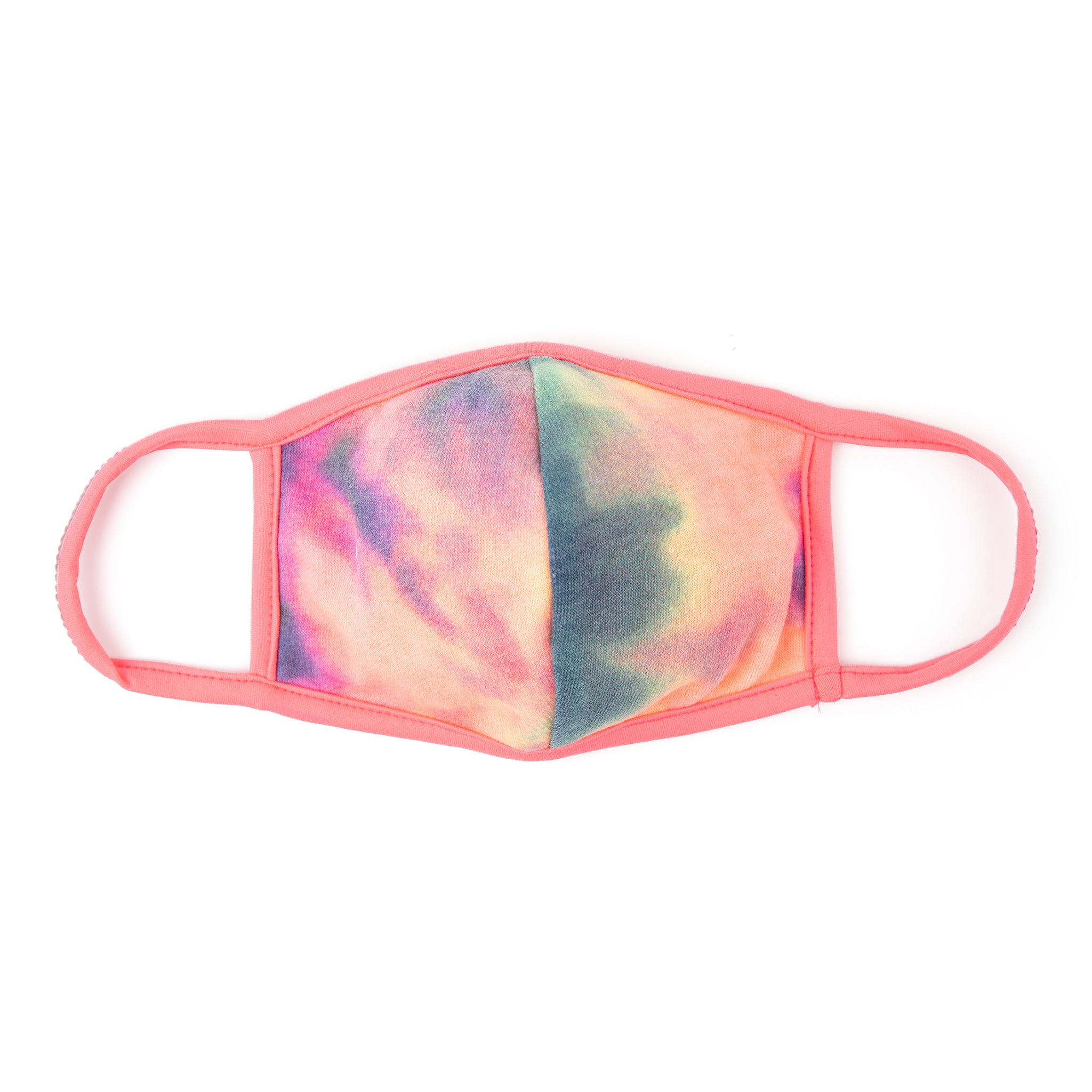 Tie-Dye Face Mask — Navy with Neon Pink Ear Loops