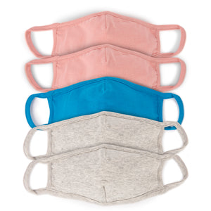 Kids' Solid Face Masks - Assorted Colors (5-Pack)
