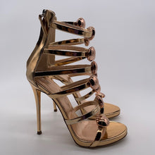 Load image into Gallery viewer, Giuseppe Gold Open Toe Sandal Heel