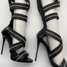 Load image into Gallery viewer, Giuseppe Black High Knee Sandal
