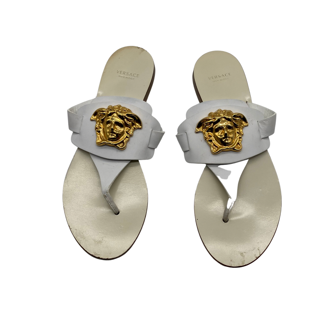 Versace Leather White Thong Sandals