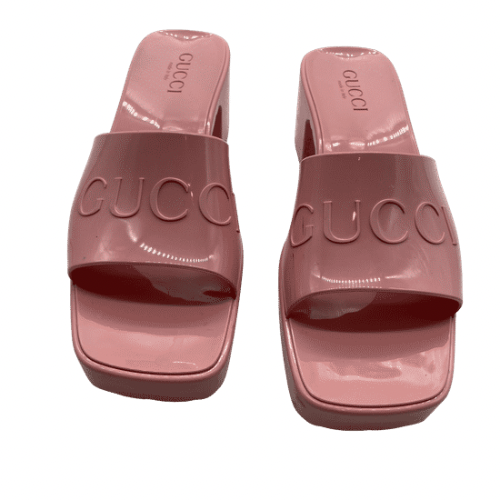 Gucci Pink Rubber Sandals
