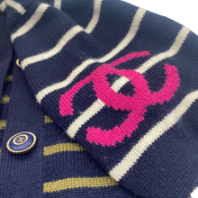 Load image into Gallery viewer, Chanel Navy Print Cardigan