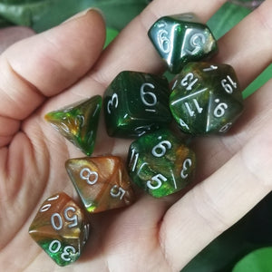 Green and Orange Glitter 7 Piece Polyhedral Dice Set