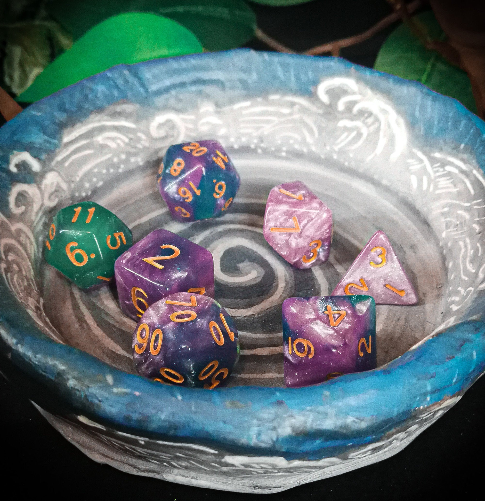 Turquoise and Pink Glitter 7 Piece Polyhedral Dice Set