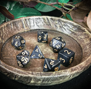 Black Marbled 7 Piece Polyhedral Dice Set