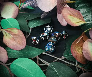 Blue and Copper Marbled 7 Piece Polyhedral Dice Set