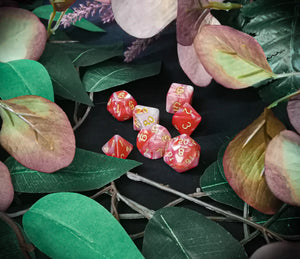 Creamsicle Marbled 7 Piece Polyhedral Dice Set