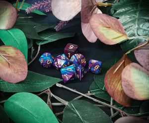 Purple and Blue Marble 7 Piece Polyhedral Dice Set