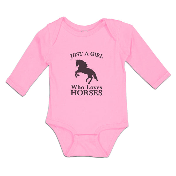 Long Sleeve Baby Bodysuit Just A Girl Who Loves Horses Silhouette