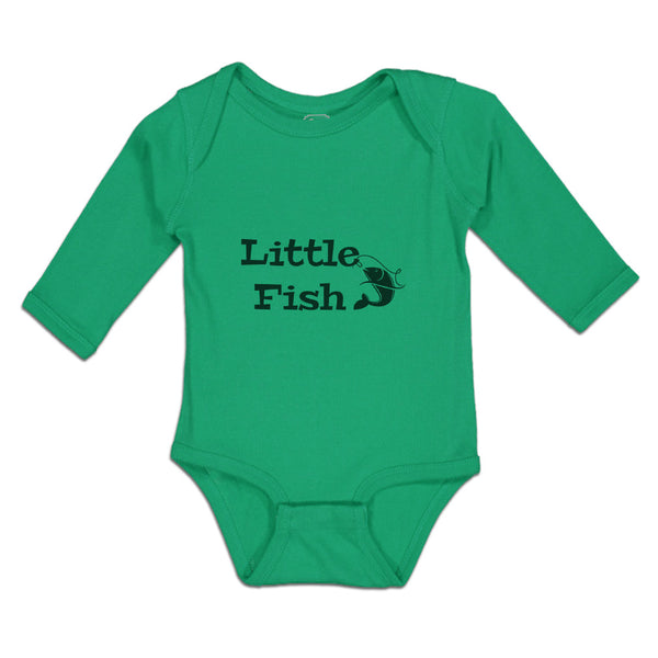 Long Sleeve Baby Bodysuit Fishing Little Fish Hunting Hobby Funny
